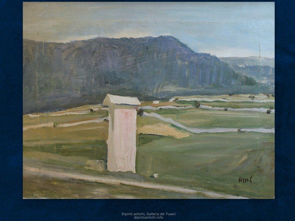 Dipinti antichi | Mario Pozzati (1888 – 1947) | La madonnina del Loan | Olio su tela, cm. 40 x 52