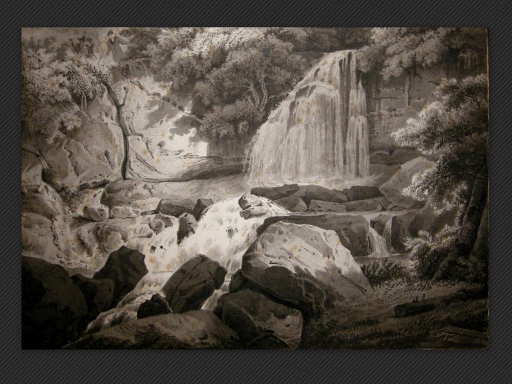 Pietro Poppi, Paesaggio con cascata
