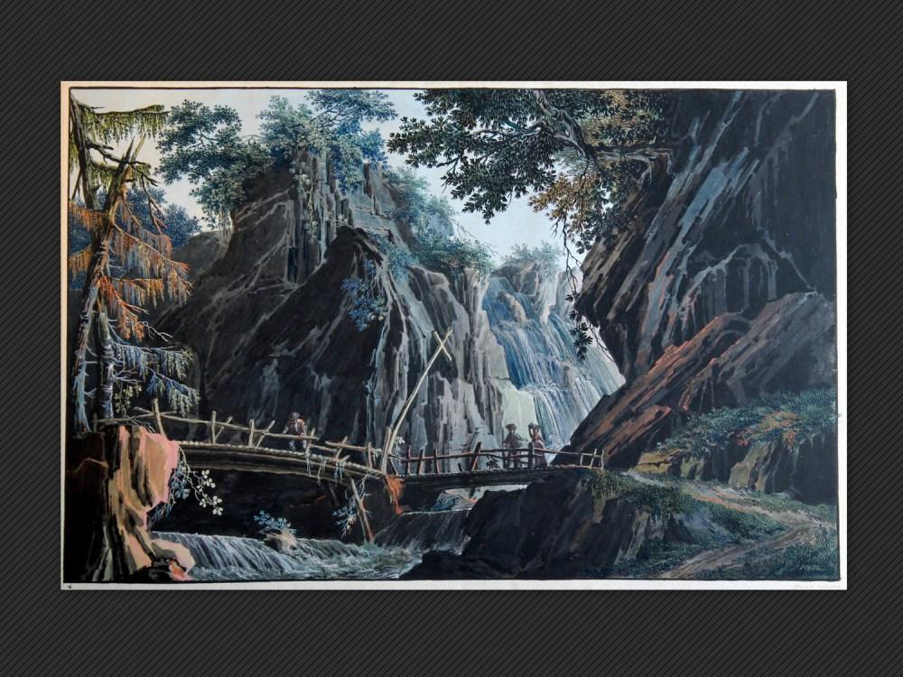 Prospero Galliani | Scenografia con ponte, montagne e ruscello