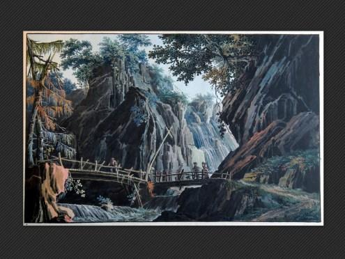 Prospero Galliani   Scenografia con ponte, montagne e ruscello