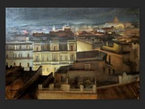 Ajani, Veduta di Roma | Dipinto su tela, cm. 70 x 100. Firmato e datato 1958.