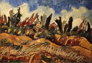 Amedeo Cavani, Casetta sui colli, Olio su tela cm 30 x 40 (1)