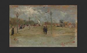Cesare Ciani - Piazza, olio su tavola, cm. 9,6 x 15,5