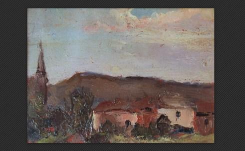 Lea Colliva - Crepuscolo a Roncastaldo, olio su tavola, cm. 12 x 16,5