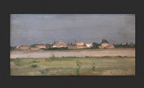 Giovanni Masotti - Veduta verso la pianura, olio su tavola, cm. 7,5 x 14