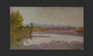 Alessandro Scorzoni - Sul Sillaro, olio magro su cartone, cm. 13,7 x 23,3
