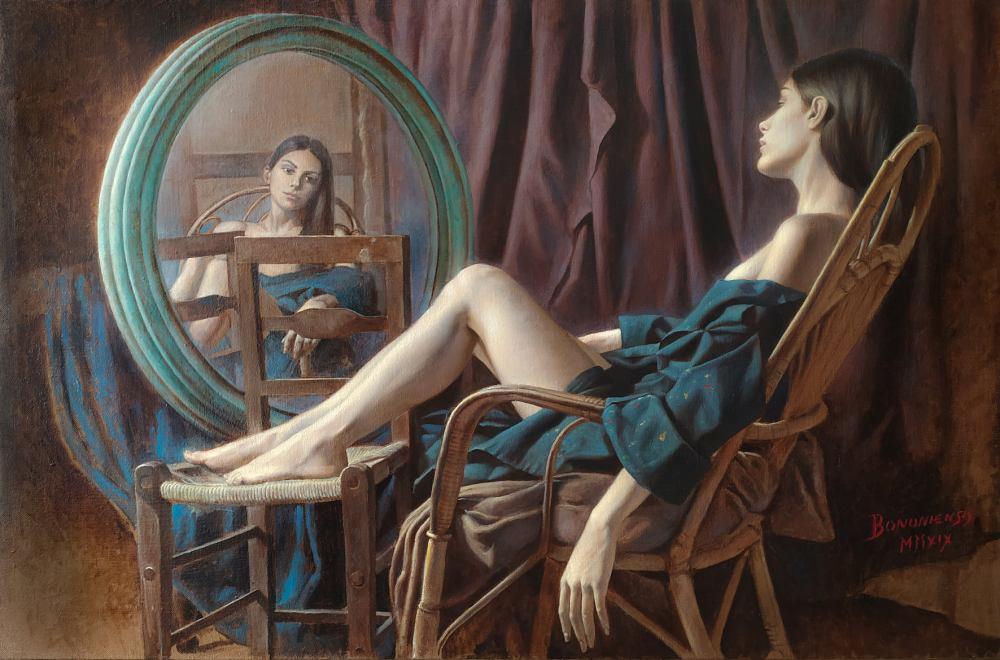 Gianluca Capaldo, La Pausa, olio su tela, cm. 100 x 150