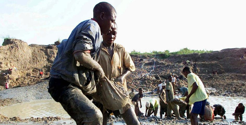 Looking for diamonds in Africa.