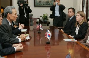 U.S. and South Korean Trade Representatives take part in trade meetings at the U.S. Trade Representatives offices in Washington.