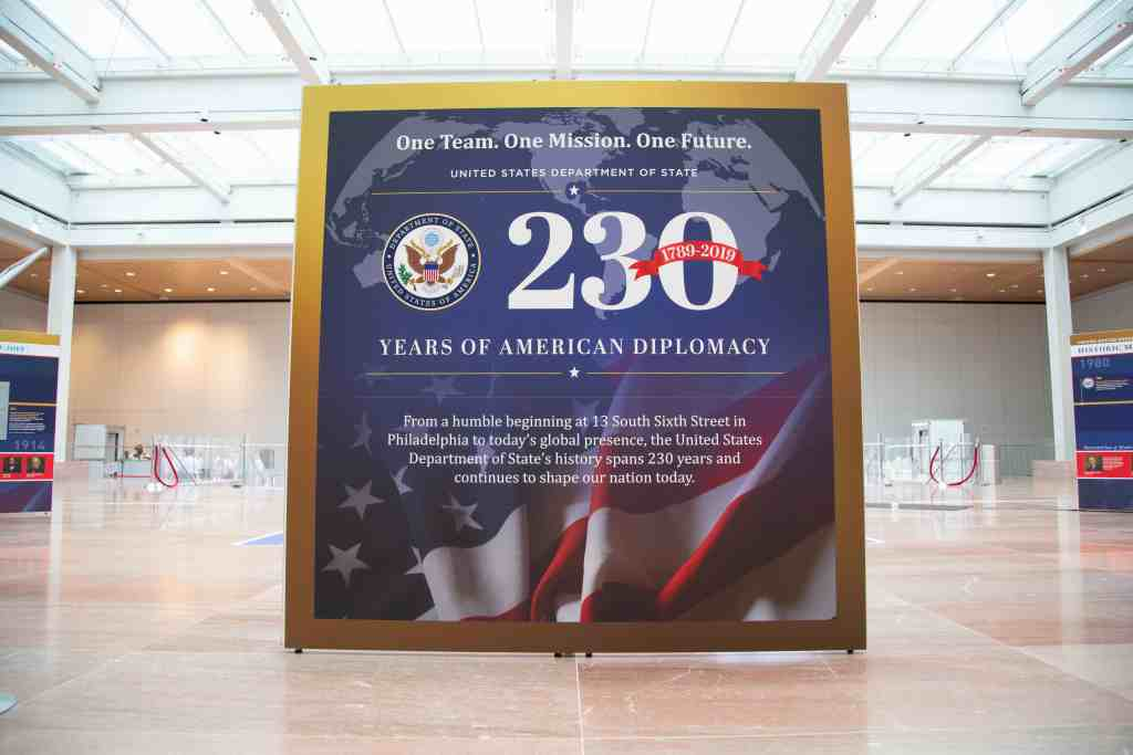 American flag 230th anniversary exhibit wall