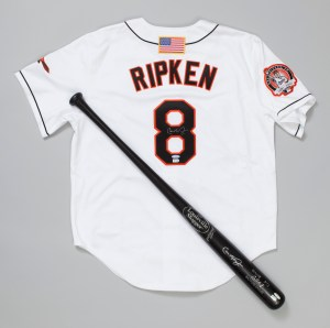 Cal Ripken's jersey and bat, signed