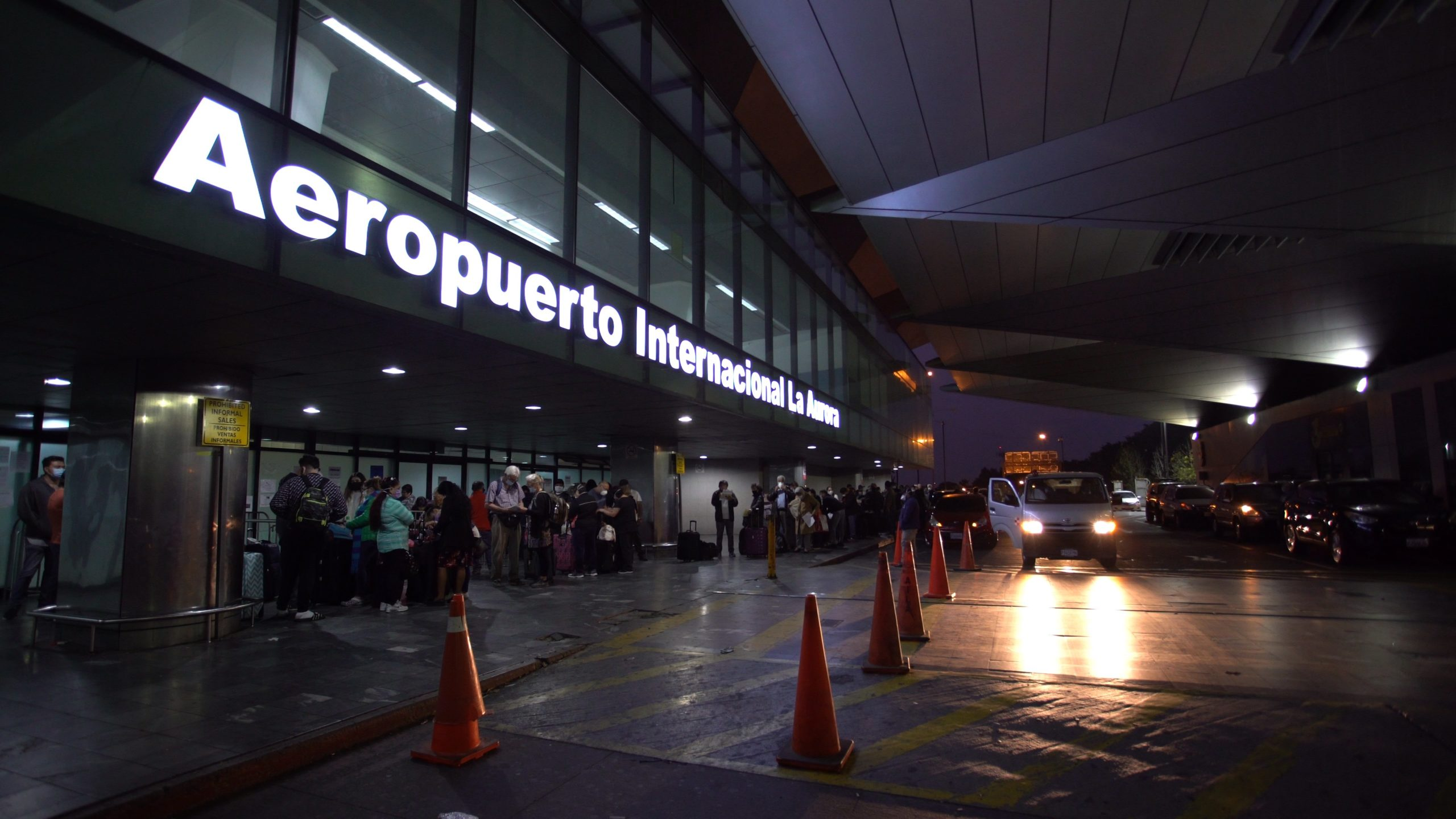 Outside La Aurora International Airport, American citizens gather to leave Guatemala City. During the COVID-19 crisis, the U.S. Embassy in Guatemala helped more than 3,400 U.S. citizens and residents return to the United States.