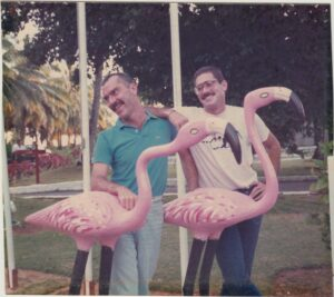 David Buss and David Larson in Seychelles, circa 1987 upon becoming a couple.