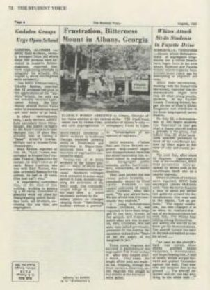"""""""The Student Voice,"""" a publication of The Student Non-Violent Coordinating Committee, Vol IV No 2, August 1963, page 4. Claudia is mentioned in the article """"Gadsden Groups Urge Open School"""" under her maiden name Rawles. She reports on school integration efforts as well as the arrest of two men at a segregated theater."""