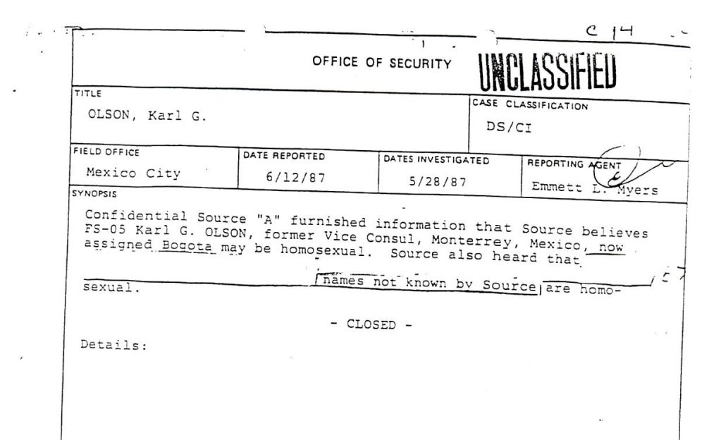 Cover page of the Investigation report of Karl Oldon in 1987.