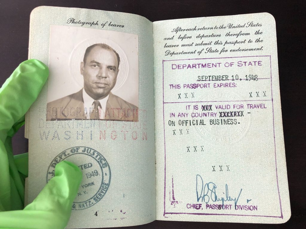 Issued September 10, 1948, Edward R. Dudley used this passport to travel to his assignment as U.S. Minister to Liberia. In 1949, the U.S. mission to Liberia was upgraded to embassy status, and Dudley was promoted to the rank of ambassador.