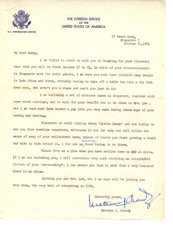 USIS Letter Singapore Oct 1954 scaled