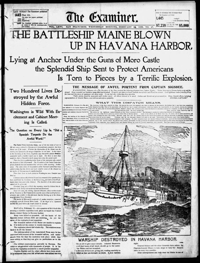 uss maine explosion front page