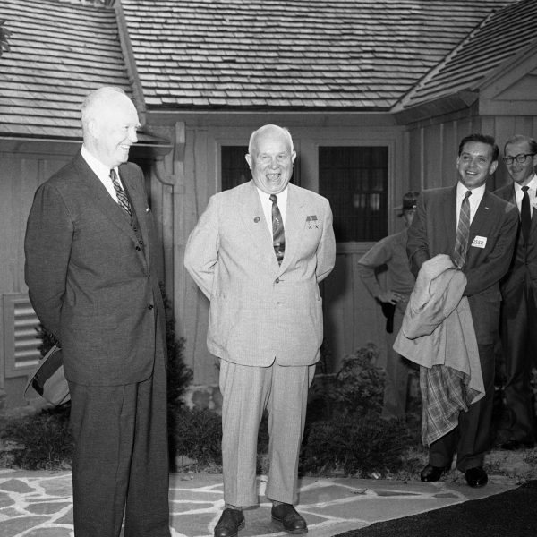 President Eisenhower and Soviet Premier Khrushchev at Camp David in 1959, the first visit of a Soviet leader to the United States.