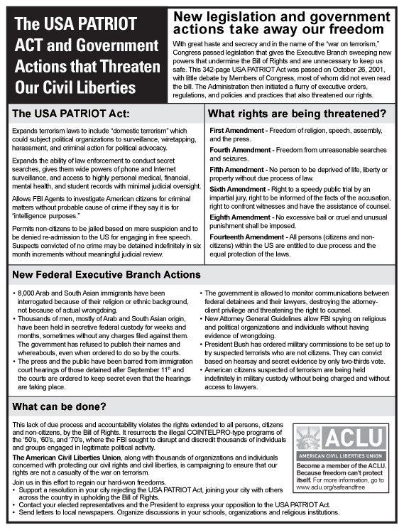 This full page ACLU newspaper ad aginst the Patriot Act appeared in The New York Times.