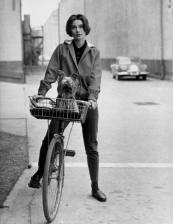 Audrey Hepburn with Mr. Famous, her yorkshire terrier