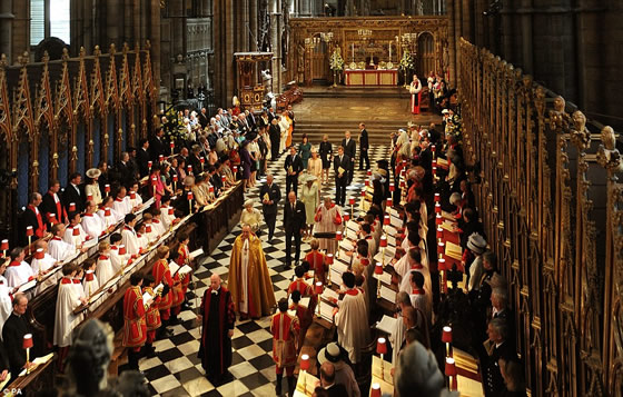 Queen Elizabeth II and Prince Philip leave Westminster Abbey led by the clergy after the service. They were followed by Prince Charles and The Duchess of Cornwall, then Prince William, the Duchess of Cambridge and Prince Harry, and finally Princesses Eugenie and Beatrice