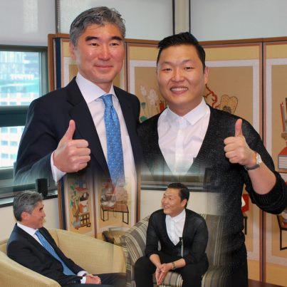 US Ambassador to Seoul, Sung Kim with Psy (Photo via US Embassy/FB)