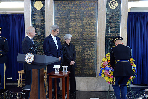 U.S. Secretary of State John Kerry, U.S. Vice President Joseph Biden, and American Foreign Service Association (AFSA) President Susan R. Johnson honor foreign affairs colleagues who have lost their lives while serving overseas in the line of duty or under heroic or other inspirational circumstances, at the AFSA Memorial Plaque Ceremony at the U.S. Department of State in Washington, D.C., on May 3, 2013. [State Department photo/ Public Domain]  Click on image to view video of the ceremony.