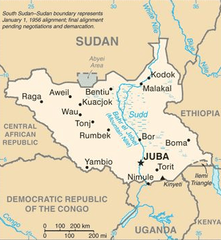 Map of Juba, South Sudan