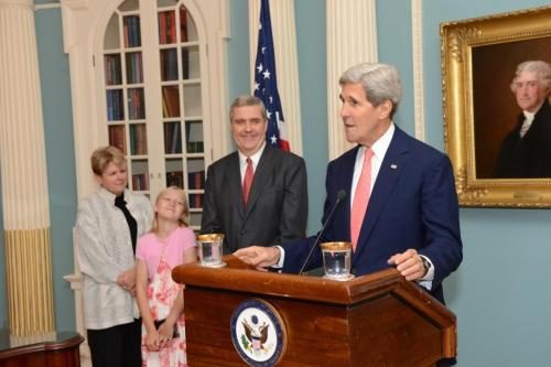 The new #US Ambassador to #NATO, Douglas Lute was sworn in by #SecKerry on Aug 15.