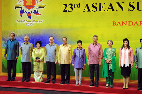 U.S. Secretary of State John Kerry poses with other regional heads of state and leaders of delegation before the start of a dinner and cultural program at the ASEAN Summit meeting in Bandar Seri Begawan, Brunei, on October 9, 2013. [State Department photo/ Public Domain]