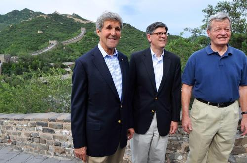 U.S. Secretary of State John Kerry poses with U.S. Treasury Secretary Jack Lew and U.S. Ambassador to China Max Baucus as the three tour the Badaling section of the Great Wall of China after the Secretaries arrived in Beijing on July 8, 2014, for a two-day Strategic & Economic Dialogue with their Chinese counterparts. [State Department photo/ Public Domain]