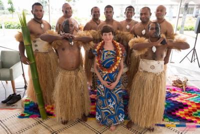 Ambassador Cefkin posses with warriors — at US Embassy Suva. (Photo by US Embassy Suva/FB)