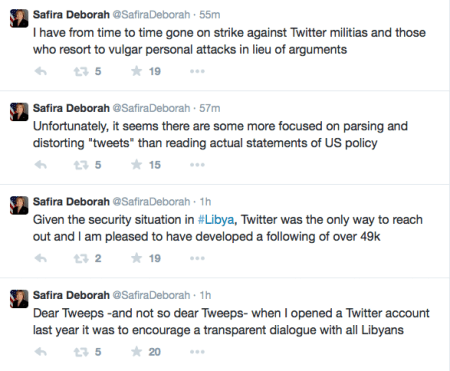 Screen Capture, @SafiraDeborah's tweets