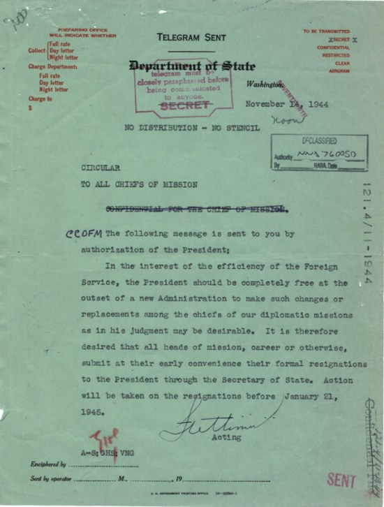 121.4 [11-1944.1] Circular to All Chiefs of Mission, Nov. 14, 1944 Via The Text Message