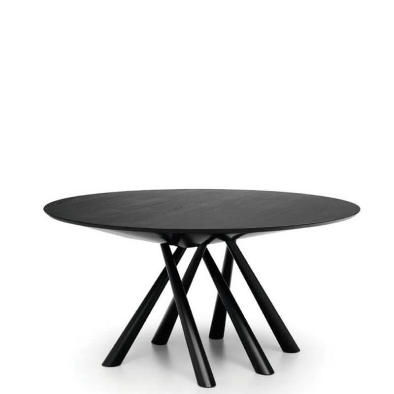 forest table ronde en chene laque noir o 150 cm de midj