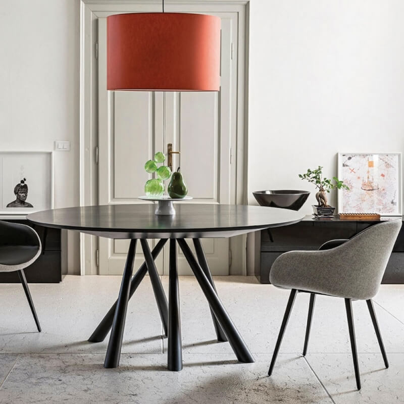 forest table ronde en chene laque noir o 150 cm de midj
