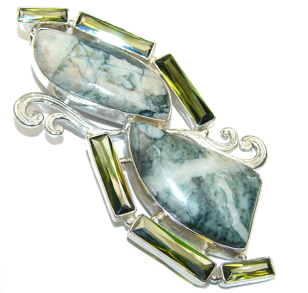 Large! Fantastic Green Moss Agate Sterling Silver Pendant