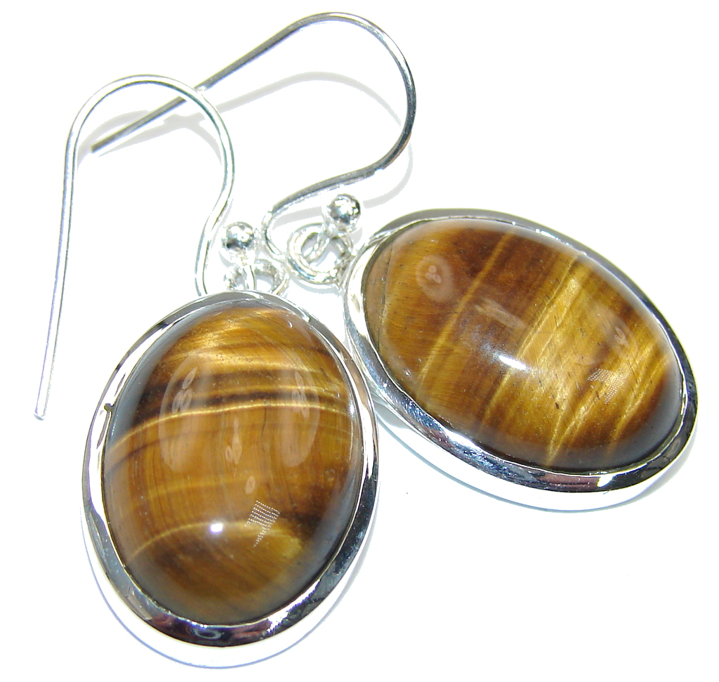 Flawless Brown Tigers Eye Sterling Silver Earrings
