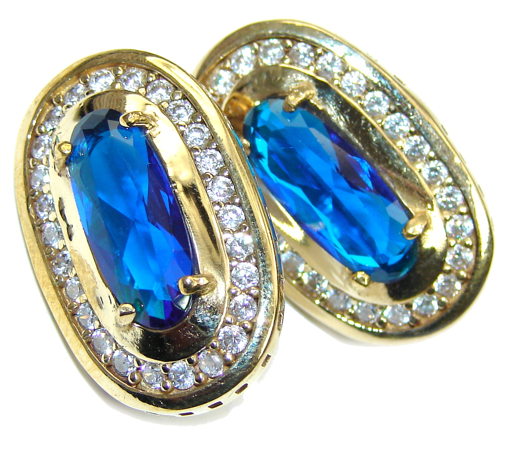 Created Blue Sapphire & White Topaz Golden tone Sterling Silver earrings