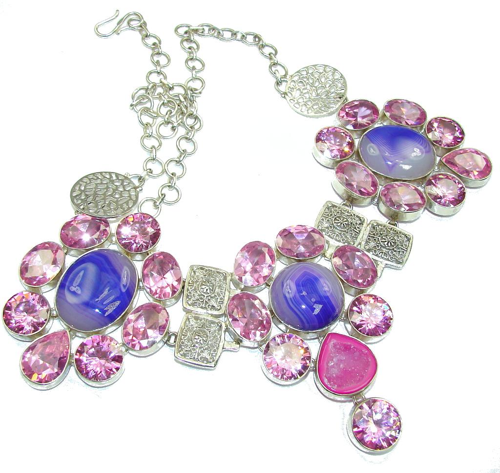 Huge! Island Fantasy! Purple Botswana Agate Sterling Silver necklace