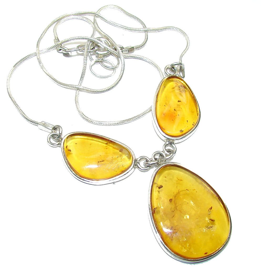 Natural AAA Baltic Polish Amber Sterling Silver necklace