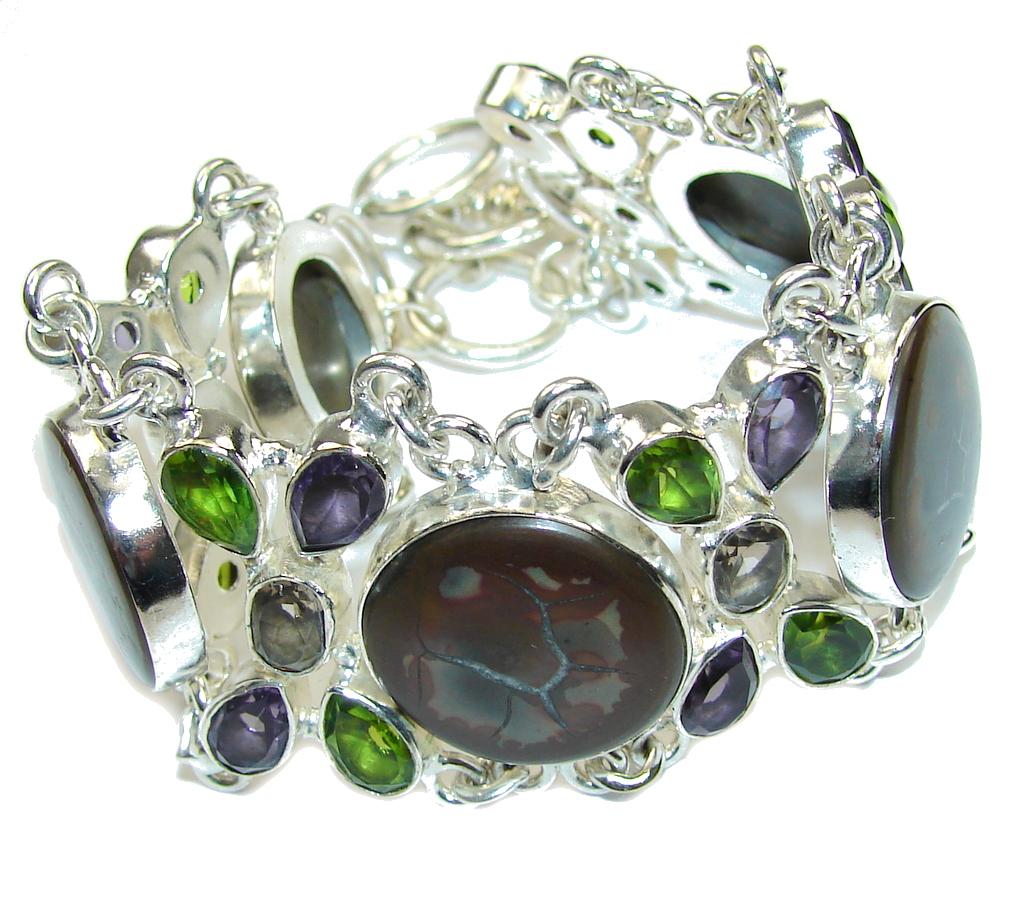 Classic Beauty! Pietriefied Wood Sterling Silver Bracelet