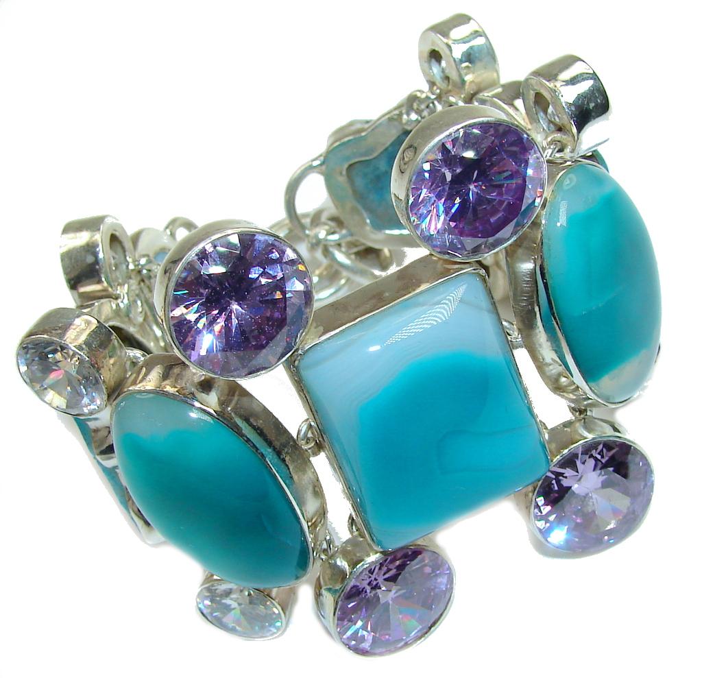 Stylish Design Huge Botswana Agate Sterling Silver Bracelet