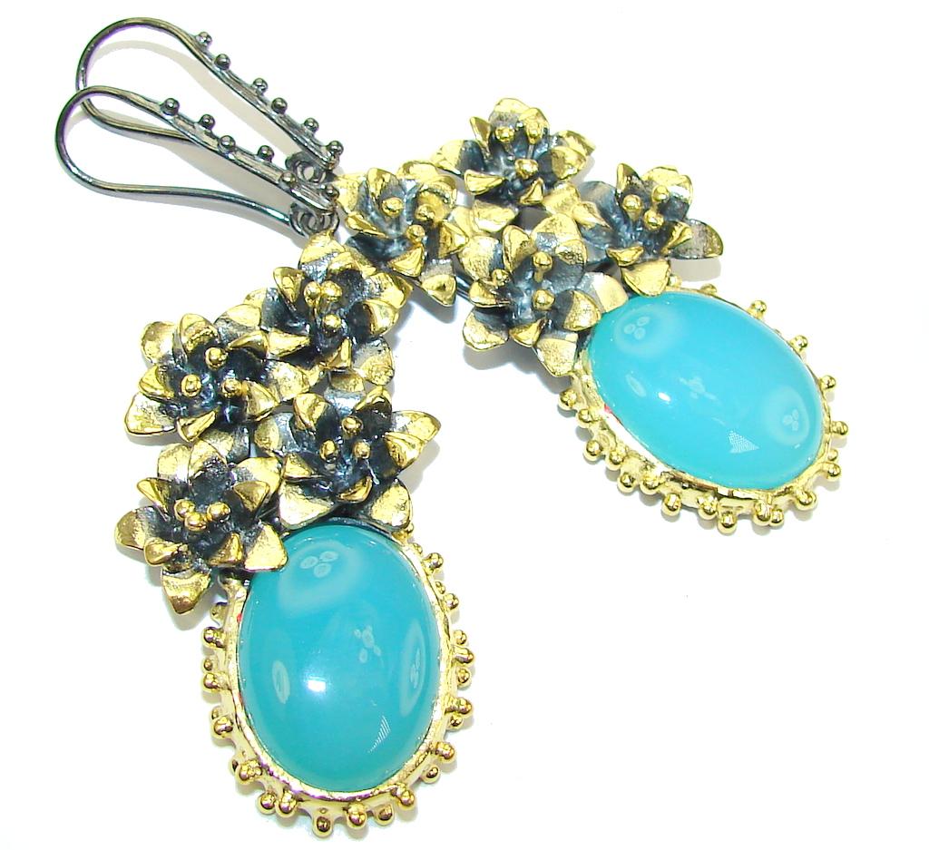 Long! Vintage Floral Design Blue Agate Sterling Silver earrings