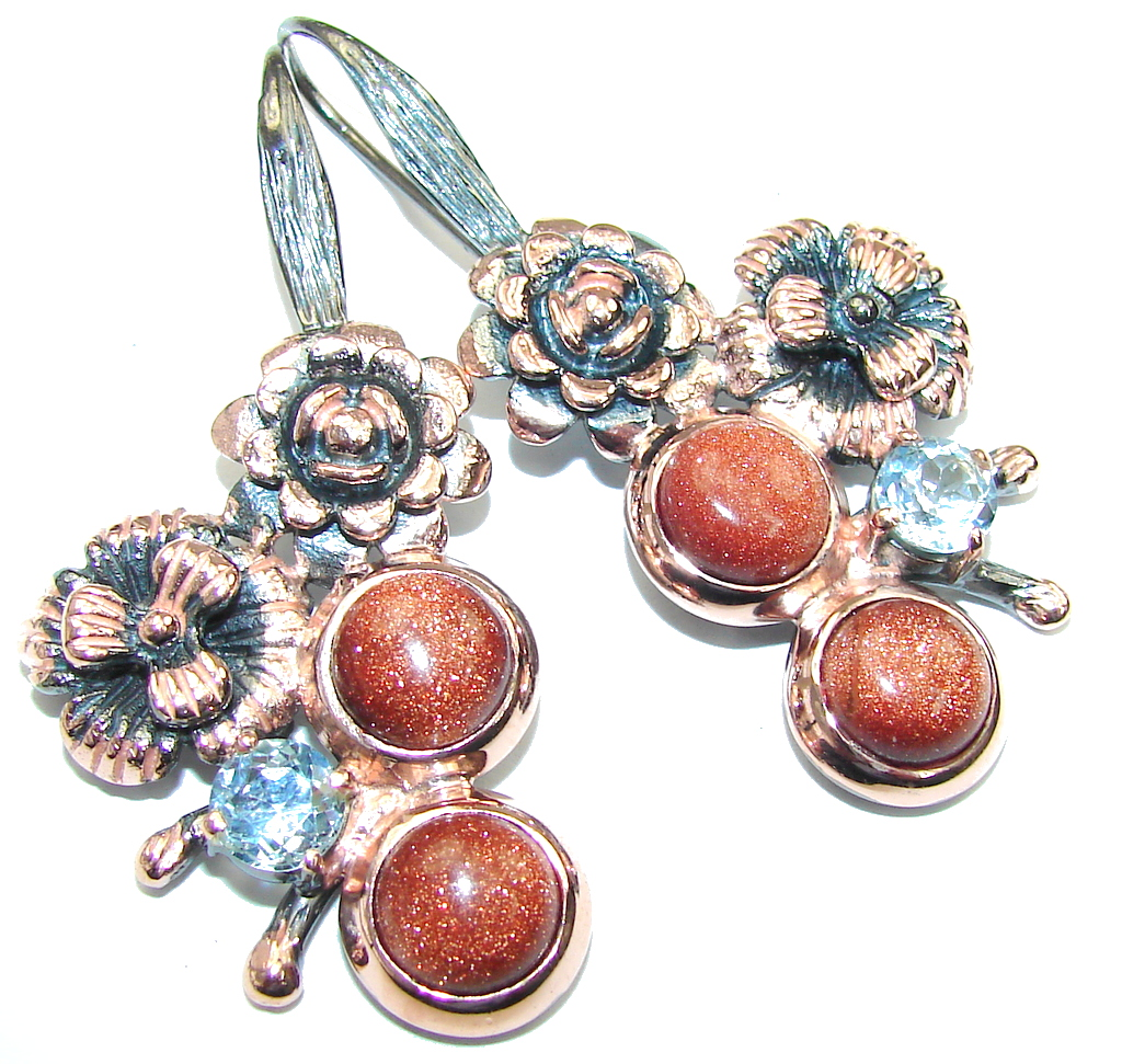 Gorgeous Red SunSitara & Swiss Blue Topaz, Rose Gold Plated, Rhodium Plated Sterling Silver earrings