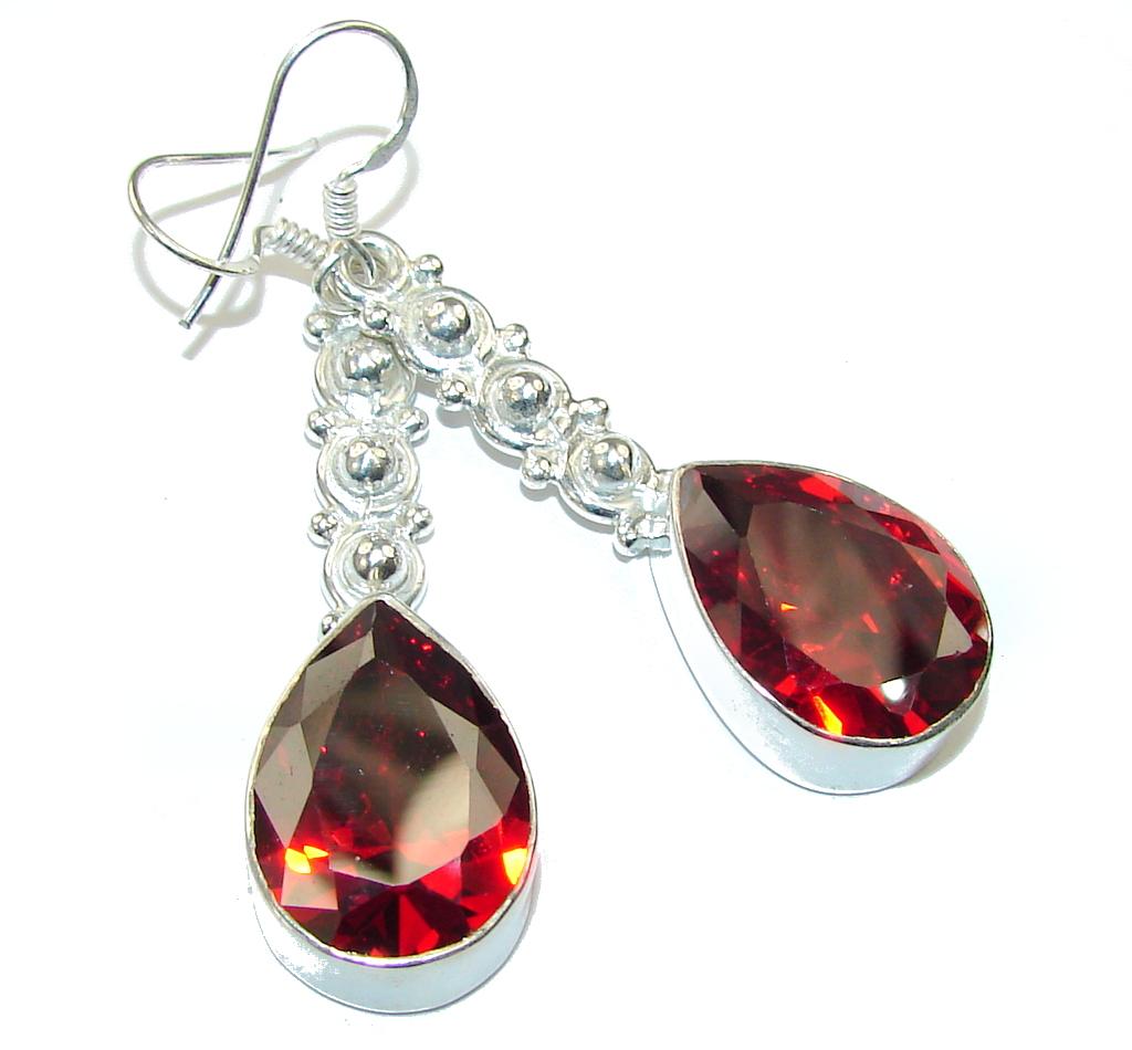 Deep Love! Created Red Garnet Sterling Silver earrings / Long