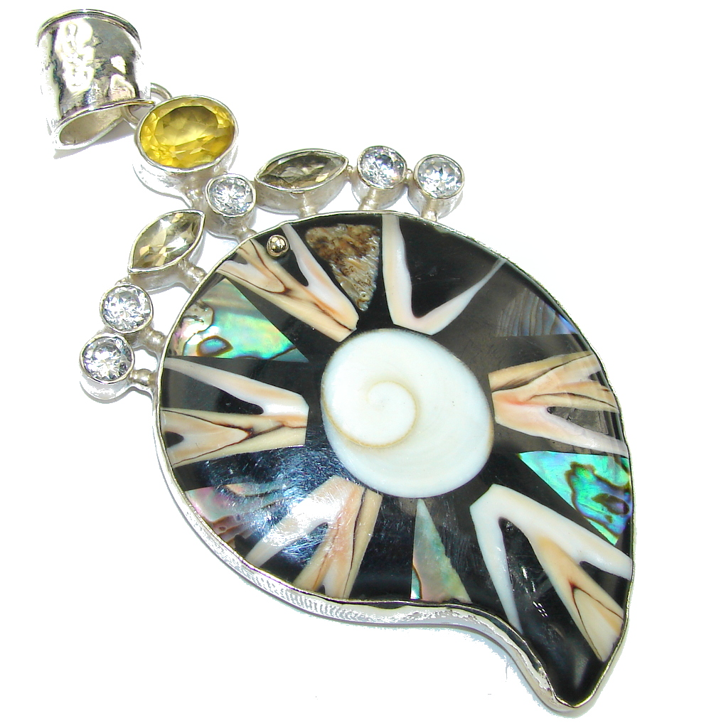 Large! Excellent Rainbow Abalone Shell Sterling Silver Pendant