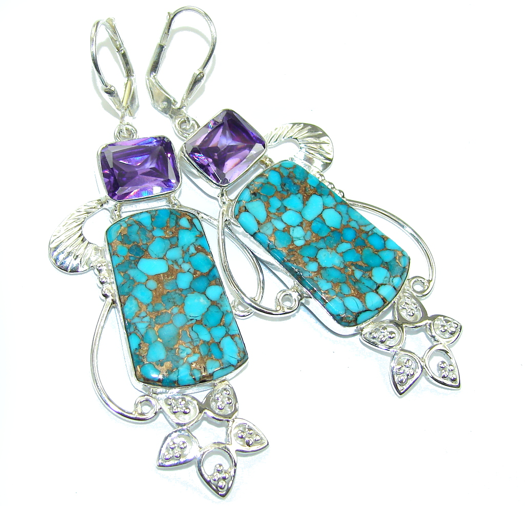 Excellent Copper Blue Turquoise Sterling Silver earrings