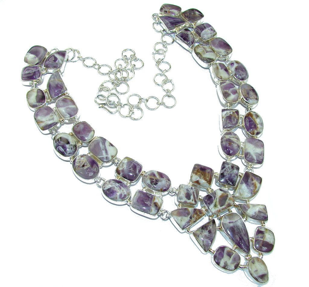 Genuine Untreated African Purple Amethyst Sterling Silver Necklace